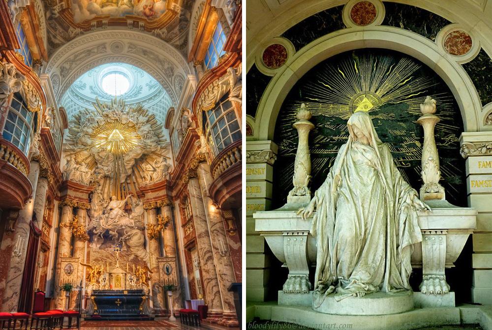 A bécsi Karlskirche oltára és egy Prágában található Szűz Mária-szobor