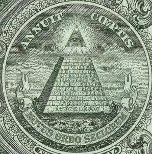 Mindent látó szem az 1 dolláros bankjegyen